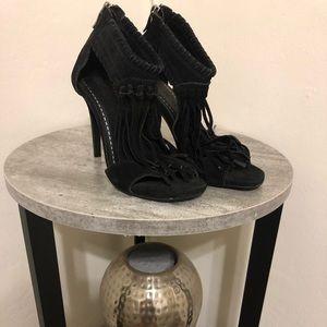 Chinese Laundry black high heels with fringe